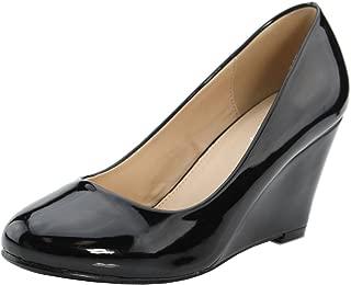Bella Marie Women's Classic Slip on Round Toe Patent Wedge Heel Pump