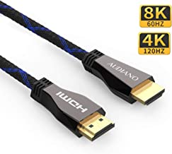 8K HDMI Cable, AUDIANO Certificated 8K HDMI 2.1 Cable 100% Real 8K, High Speed 48Gbps 8K@60Hz 7680P Dolby Vision, HDCP 2.2, 4:4:4 HDR, eARC Compatible with Apple TV, Samsung QLED TV (6.6ft)