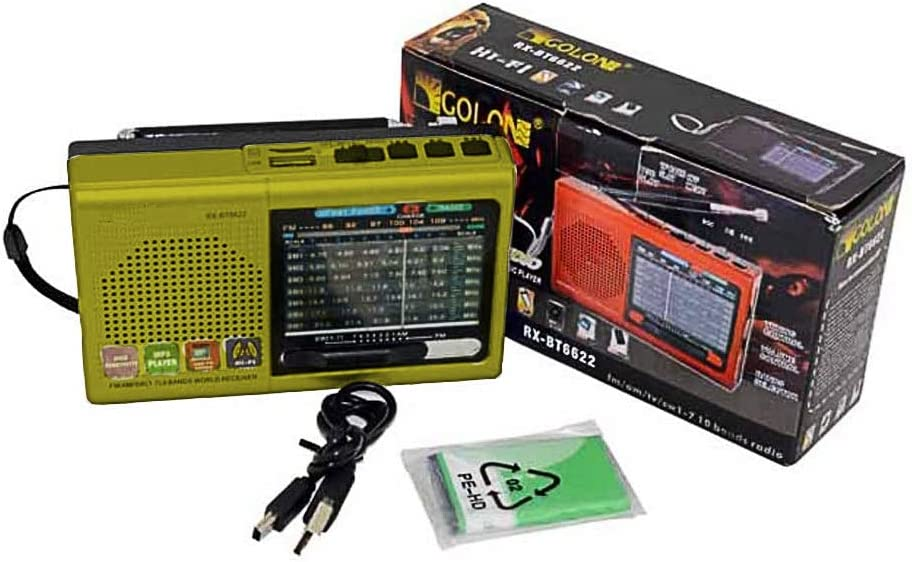 Multi-Function Wireless Radio FM//AM//SW Multi-Band Radio Portable Bluetooth Speaker MP3 Player can be Operated by Rechargeable Lithium Battery//3 AA Batteries Support TF Card//U Disk//Audio Input Red