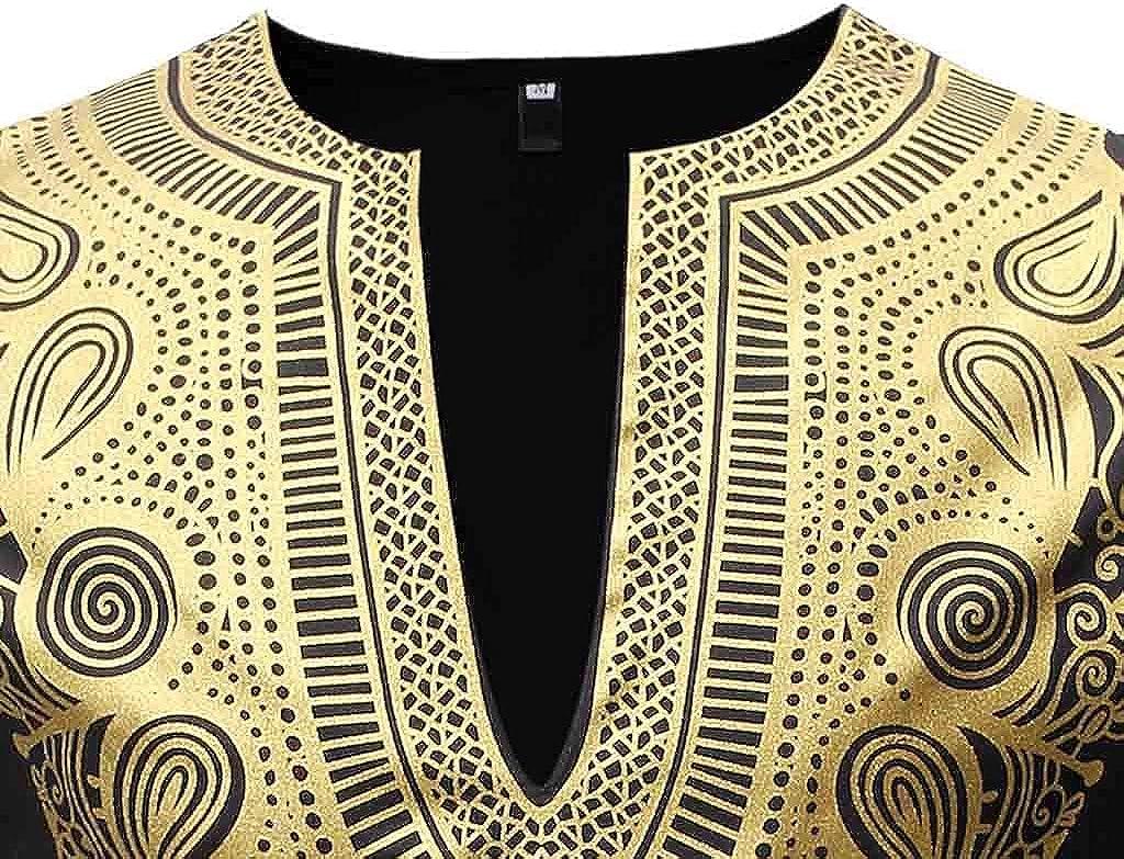JSPOYOU Men's African Dashiki 2 Piece Set Long Sleeve Luxury Metallic Gold Print Shirt and Pant Suits Tribal Floral Print Set