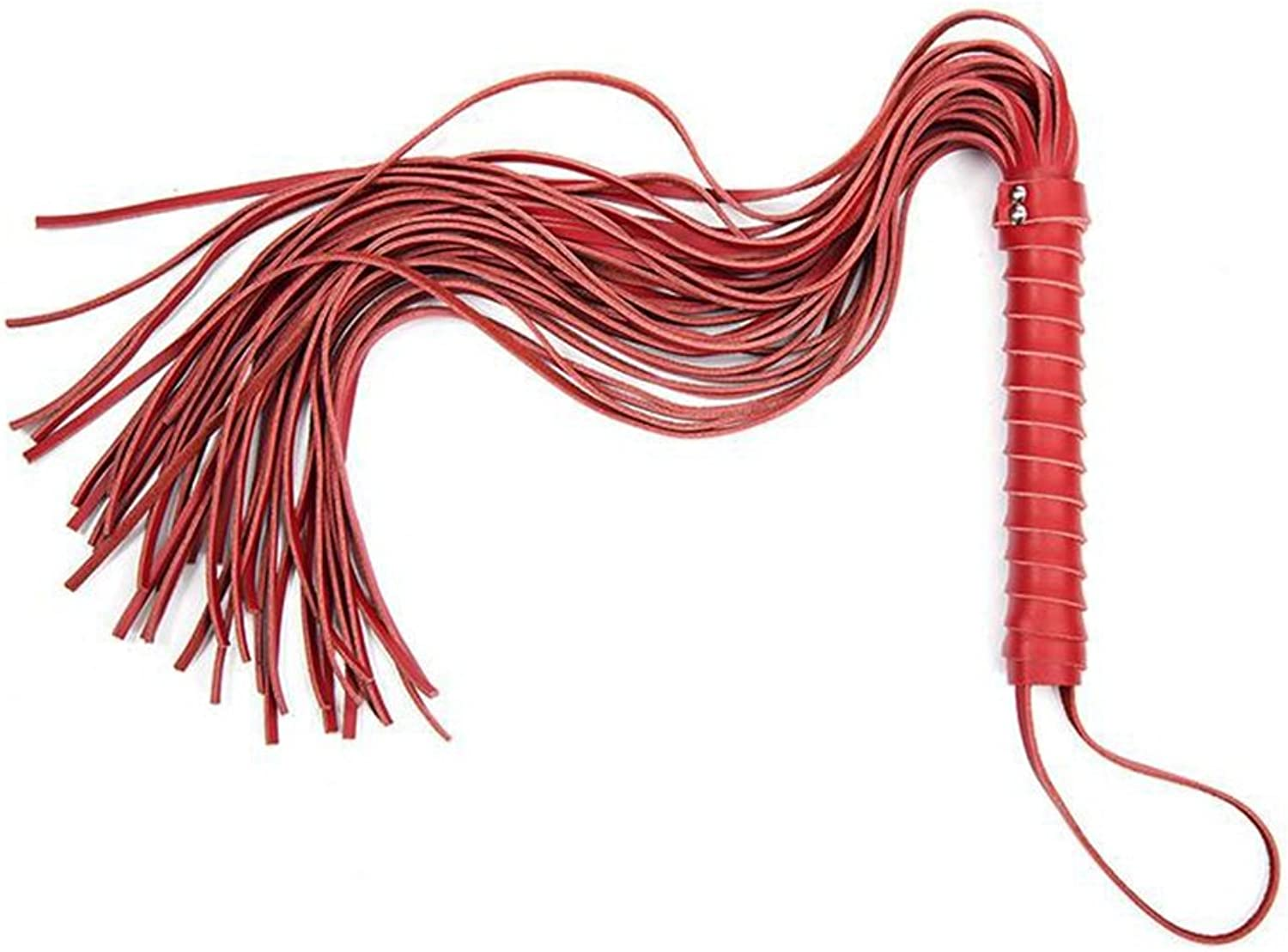 SM Fetish Whip Flogger PU Leather Role Play with Rivet Handle Bondage Restraints For Male Female Adult 68cm