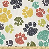 Ambesonne Dog Lover Fabric by The Yard, Hand Drawn Paw Print Doodles Circular Pattern Drawing Style Animal, Microfiber Fabric for Arts and Crafts Textiles & Decor, 3 Yards, Beige Teal