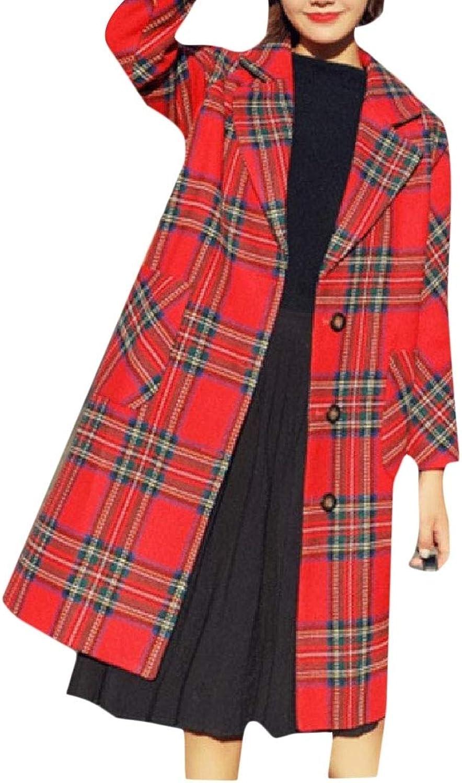 Abetteric Womens Topcoat Grid Outwear Wool Blend Notch Lapel Patch Peacoat