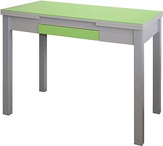 MOMMA HOME Mesa Extensible - Modelo Tetra - Color Verde/Plata - Material Cristal Templado/MDF - Medidas 100/160 x 60 x 77 cm