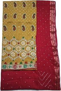 Smit Enterprise Kachhi Bandhani hand work cotton dress material Cotton Silk Unstitched Dress Material For Women