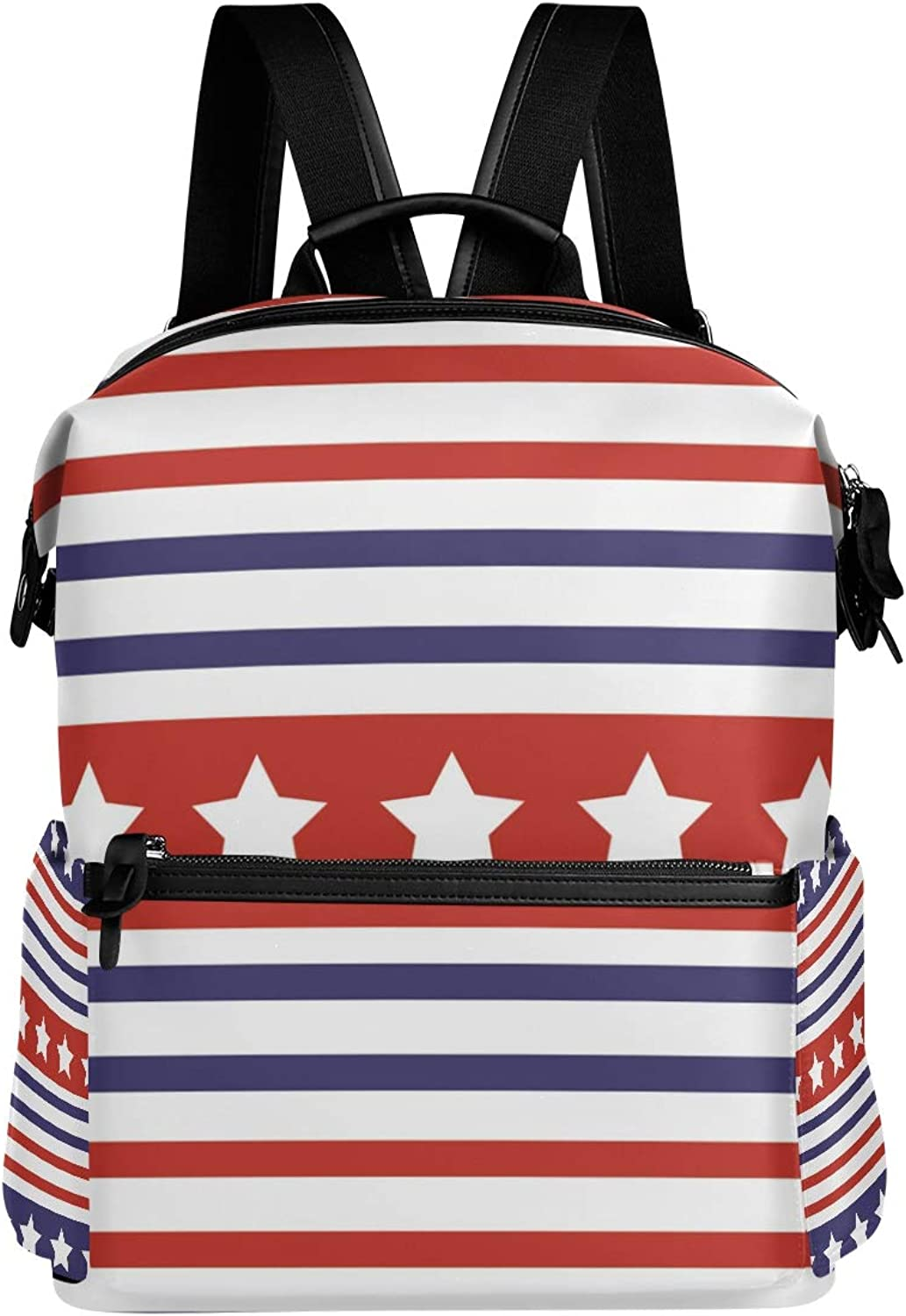 MONTOJ Stars and Stripes Parade Pattern Leather Travel Bag Campus Backpack