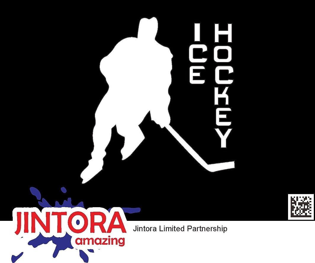 スカイ圧縮農夫JINTORA ステッカー/カーステッカー - Ice Hockey - アイスホッケー - 87x93mm - JDM/Die cut - 車/ウィンドウ/ラップトップ/ウィンドウ- 白
