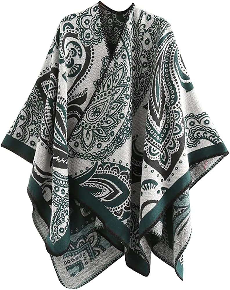 Women's Open Front Cardigan Shawl Wrap Oversized Poncho Vintage Ruana Cape Blanket Cardigan Sweater