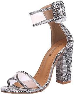 a5b8de338a3 Zapatos Tacon Alto para Mujer, Verano Sandalia con Punta Abierta  Transparente Hebilla 10 CM Elegante