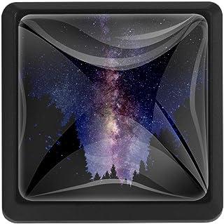 Galaxy Sky in The Forest Tirador de cajón con forma cuadrada de cristal para armario cajón pomos con tornillos para el h...
