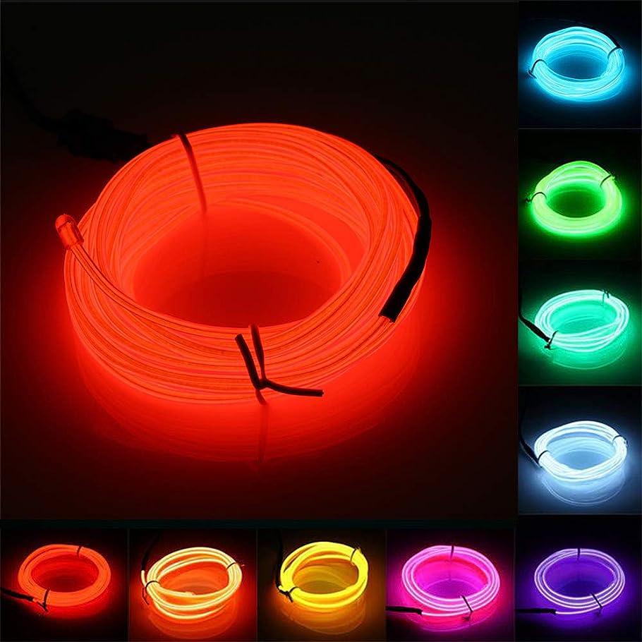 逆調べるロマンスELワイヤー Jiguoor ▲5M 有機EL ネオンワイヤー イルミネーション 車内 ネオンライト 自転車 3パタン ロープライト パーティー 衣装 LEDライト 長さ5m 直径2.3mm 全10色(赤 レッド)