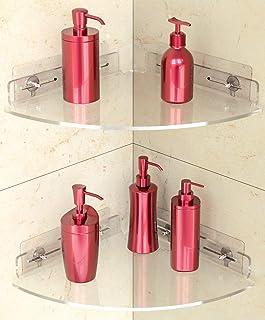 Vdomus アクリルコーナーシャワーシェルフ 2個パック 接着剤付き ウォールマウント 浴室コーナーシェルフ ドリル不要