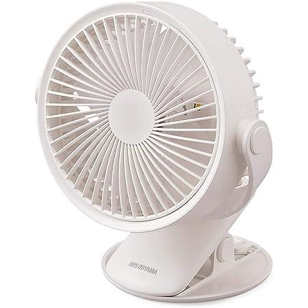 アイリスオーヤマ 扇風機 卓上 クリップタイプ 充電式 TFC-01-W ホワイト