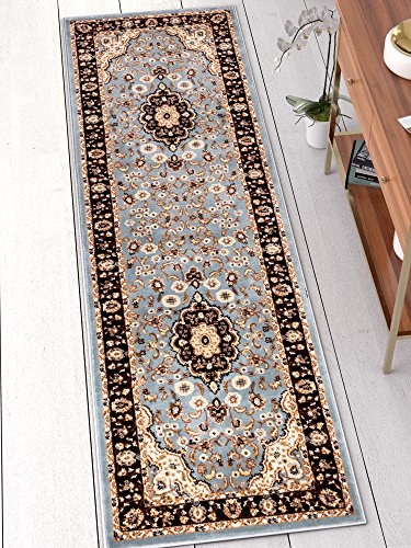 Well Woven Noble Medallion Light Blue Oriental 2x7 (2'3' x 7'3' Runner) Area Rug Traditional Persian Floral Carpet
