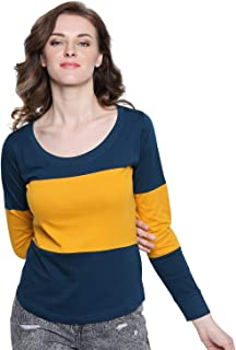 The Dry State Women's Multi Coloured Cotton Full Sleeve t-Shirt