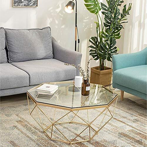XIAOYANサイドテーブル北欧のコーヒーテーブル、スタイリッシュな強化ガラステーブルのリビングルーム錬鉄製のソファーサイドテーブルバルコニースナックテーブル-ゴールド57×57×45cm