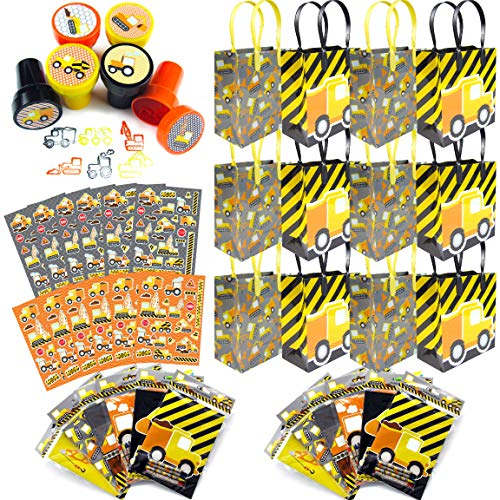 TINYMILLS Construction Trucks Birthday Party Assortment Favor Set of 108 pcs (12 Party Favor Treat Bags with Handles, 24 Self-Ink Stamps for Kids, 12 Sticker Sheets, 12 Coloring Books , 48 Crayons) Ga