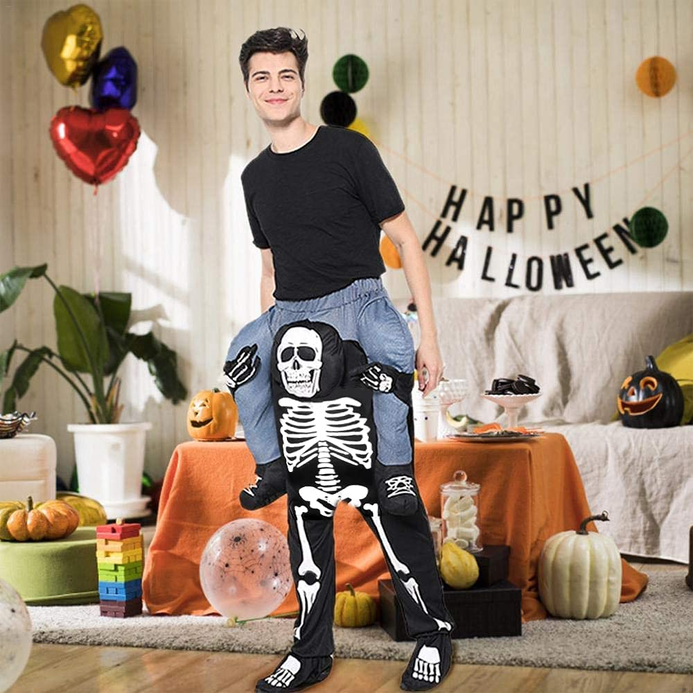 EraSpooky Adult Carry Costume Skeleton Halloween Costumes Ride On Skulls Ride Mascot Pants : Clothing, Shoes & Jewelry
