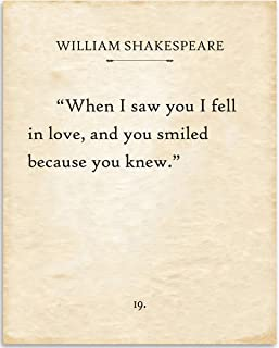 William Shakespeare - When I Saw You I Fell In Love - Book Page Quote Art Print - 11x14 Unframed Typography Book Page Print - Great Gift for Book Lovers, Also Makes a Great Gift Under $15