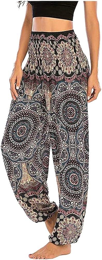 NP Floral Print Long Pants Women Wide Leg Trousers Casual Loose Trousers