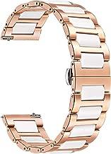for Vivomove HR Women Watchband, TRUMiRR Rose Gold Stainless Steel & White Ceramic Watch Band Quick Release Strap Bracelet for Garmin Vivomove HR Sport/Vivomove HR Premium All Versions