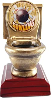 Decade Awards Bowling Toilet Bowl Trophy, Gold - Bowler Last Place Award - 5 Inch - Engraved Plate on Request