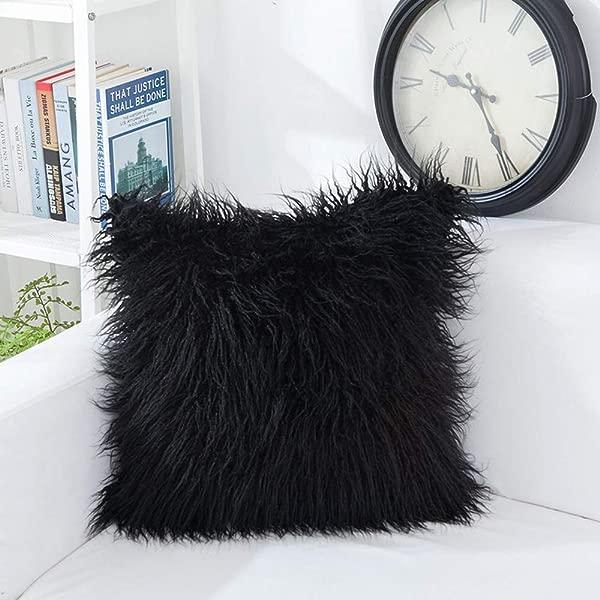 OJIA 豪华家居装饰超软毛绒蒙古人造皮草抱枕套靠垫套 20x 20 英寸黑色
