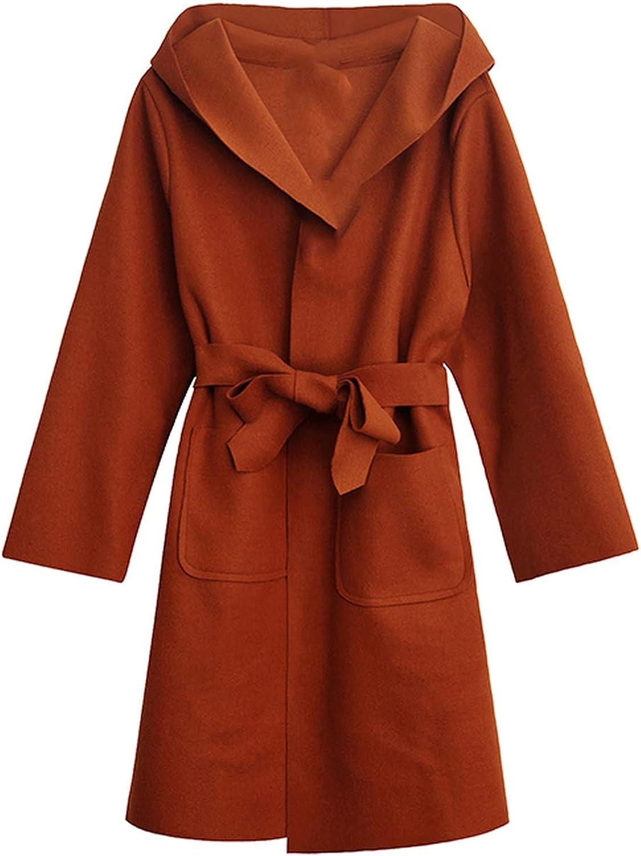 Dreamedge Winter Elegent Long Cardigan Overcoat with Waistbelt Hooded Long Woolen Coat Casaco Manteau Hiver