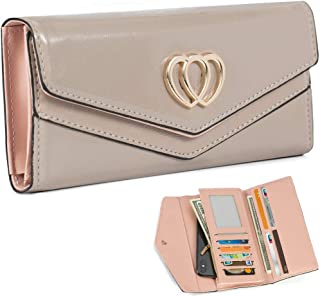 Trifold Wallets for Women Leather Clutch Checkbook Purse RFID Blocking with Credit Card Holder Organizer Gold Double Heart