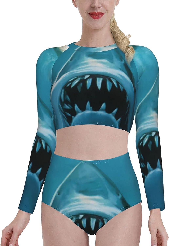 Jaw White Shark Women's Rash Guard Long Sleeve Bathing Suit with Bra Swimsuit High Waist Pants
