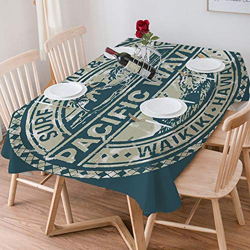 Tablecloth Rectangle Cotton Linen,Modern,Pacific Waves Surf Camp and School Hawaii Logo Motif with Ar,Waterproof Stain-Resistant Tablecloths Washable Table Cover for Kitchen Dinning Party (140x200 cm)