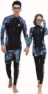 Sujpjheed 水着 長袖 ラッシュガード セット レディース メンズ ウェットスーツ ビキニ UVカット 前開き フィットネス スノーケリング サーフィン レギンス パンツ