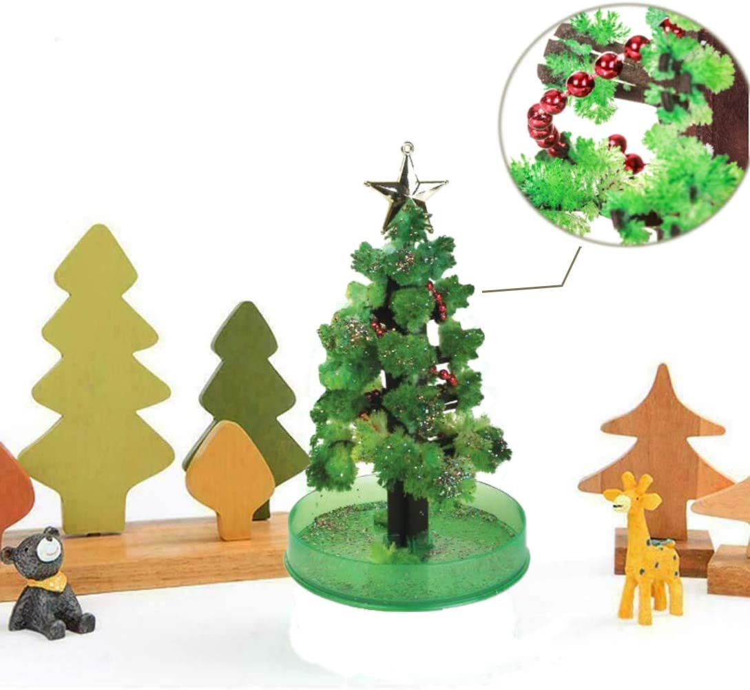 Green Xmas Tree ELEpure 2PCS Magic Growing Christmas Tree DIY Halloween Christmas Decorations Crystal Paper Tree Presents Novelty Kit for Kids Funny Educational and Party Toys