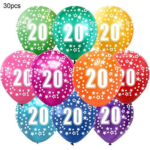 Bluelves Kunterbunte Luftballons 20 Jahre Metallic 30pcs Deko zum 20. Geburtstag Junge Mädchen, Jubiläum Hochzeit Party Kindergeburtstag Happy Birthday Dekoration Zahl 20