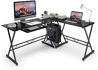 SLYPNOS Escritorio de Esquina, Mesa de Ordenador en Moderno Forma L, Mesa de Estudio Esquina, MDF+Acero, Capacidad máxima 50 Kg para Hogar, Oficina, Estudio (Negro-A)