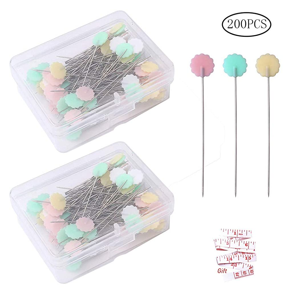 Color Scissor 200 Pieces Flat Head Straight Pins, Flower Head Sewing Pins Quilting Pins for Sewing DIY Projects Dressmaker Jewelry Decoration, Assorted Colors