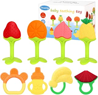 Dratrip Baby Teething Toys, Best Fruit teether - Highly Recommended by Moms,Soft & Textured - Natural Organic Freezer, BPA & Phthalates Free, Baby Shower Gift for Boy and Girl(8 Pack)