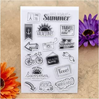 Kwan Crafts Summer Holiday Travel Time Sunshine Beach Party Clear Stamps for Card Making Decoration and DIY Scrapbooking