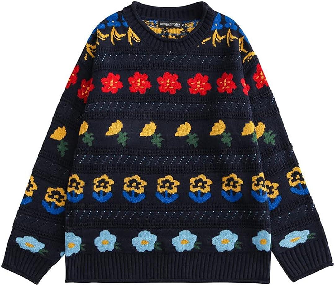KCLDFJ Men Hip Hop Knitted Sweater Streetwear Flower Jacquard Harajuku Sweater Cotton Casual Pullover