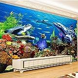 Papel tapiz mural no tejido 3D para decoración de habitación de niños dibujos animados mundo submarino acuario TV papel de pared de fondo-300 * 210 cm