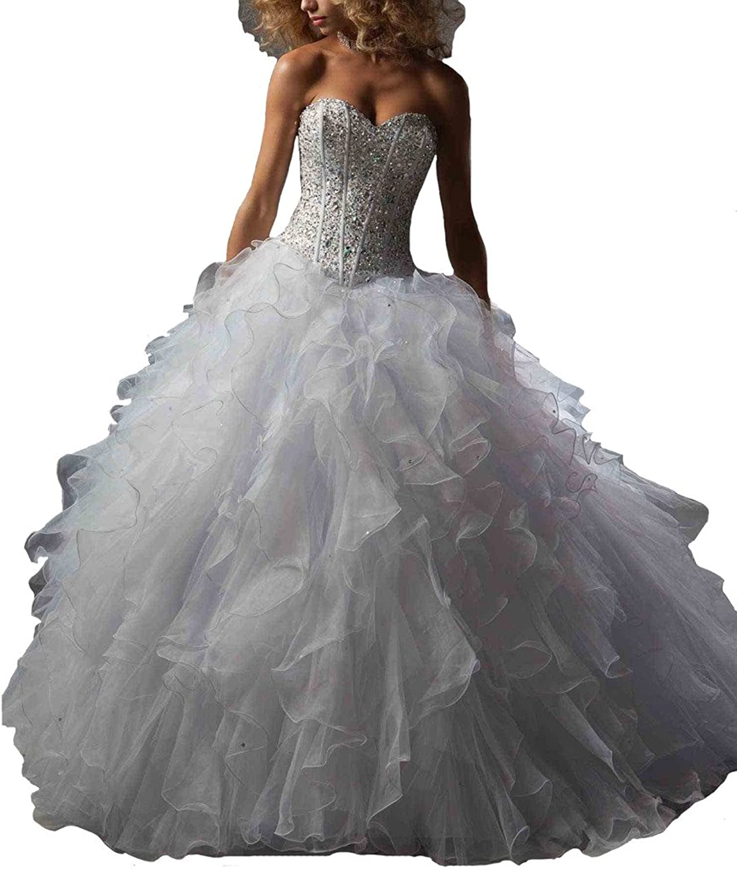 Dearta Women's Ball Gown Sweetheart FloorLength Organza Quinceanera Dresses