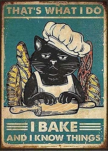 Ahdyr Cartel de lata retro vintage divertido para hacer pan, bar restaurante, sala de estar, café, 30,5 x 40,6 cm.