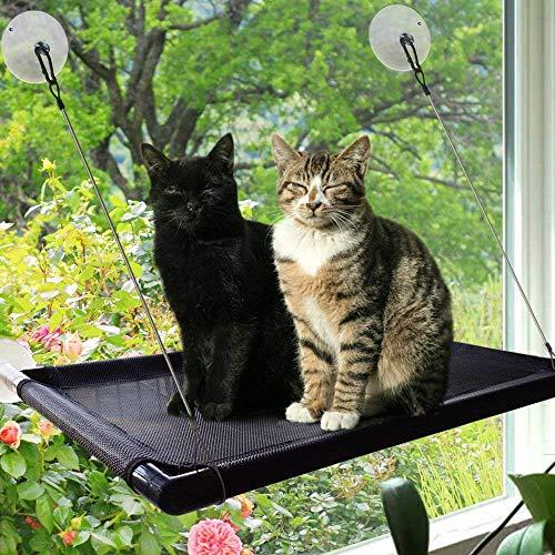 PetIsay Katzen Fensterplatz - Katzenhängematte Fenster - Fensterliege für katzen - Katzenbett - 67 x 40 cm, Schwarz