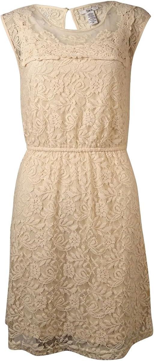 bar III Women's Sleeveless Lace Overlay Dress