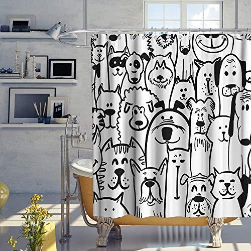 lovedomi Niedlich und lustig Strichmännchen Tier Hund Schaf Thema Design Dekoration Hintergrundmuster Badezimmer Duschvorhang 3D Druck 72X72 Zoll Polyester wasserdicht Haken 12 Haken
