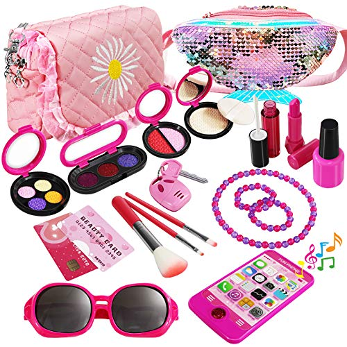 WTOR Children's Makeup Set, Includes 2 Makeup Bags and Electronic Portable Toys, Girls, Makeup Toys, Eyeshadow, Includes Sunglasses, Easy Storage, Kids, Makeup, Pretend Play, Birthday, Christmas Gift