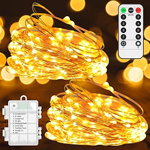 Nekano 2 pezzi Catena Luminosa Esterno ed Interno 10M Catena di luci bianco caldo Illuminazione esterna impermeabile IP65Luci di Natale per il matrimonio di Natale di Halloween