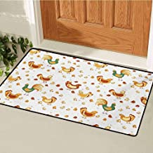 Gallus Universal Door mat Rooster Hen and Chicks Dotted Background Family April Eggs Feast Field Door mat Floor Decoration W29.5 x L39.4 Inch Teal Ginger Dark Orange