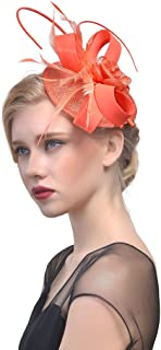 Fascinators Hat for Women and Girls Cocktail Tea Wedding Party Headwear Flower Mesh Feathers Hairpin Hat Clip