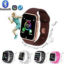 Smart Watch,GL Bluetooth Smart Watch Touch Screen Sport Smart Wrist Watch, Fitness Tracker Camera Pedometer SIM TF Card Slot Compatible Samsung Android iPhone iOS Kids Women Me (Golden-Brown)